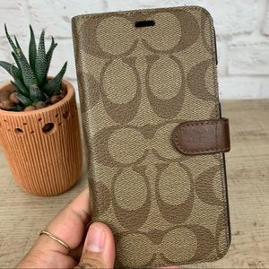 COACH Signature Canvas Iphone XR Folio Snap Case